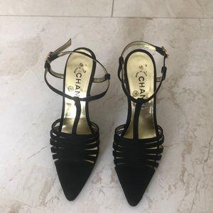 Chanel classic strap rhinestone buckle heels